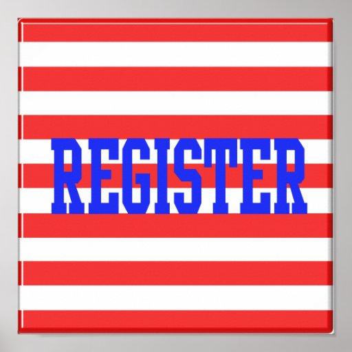 Registro en rayas azules, rojas y blancas posters