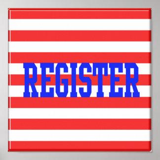 Registro en rayas azules, rojas y blancas póster