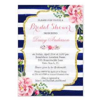 """(Registro) flores nupciales de las rayas de azules Invitación 5"""" X 7"""""""
