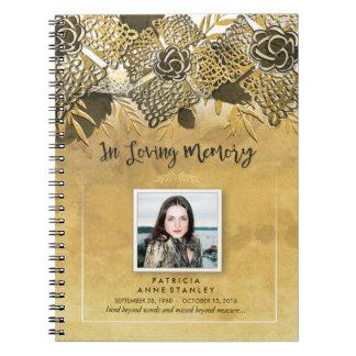 Registro fúnebre de encargo floral de oro del spiral notebooks