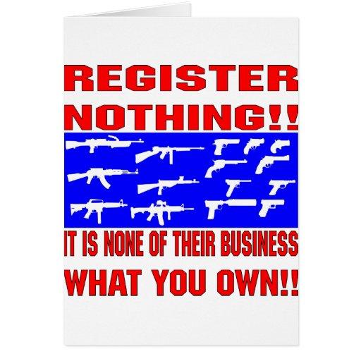 Registro nada (armas) tarjeta de felicitación