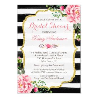 """(Registro) rayas florales de la acuarela nupcial Invitación 5"""" X 7"""""""