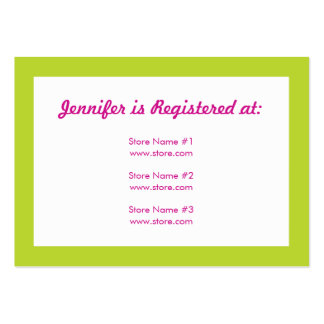 Registry Card - Green and Pink Polka Dots Large Business Cards (Pack Of 100)