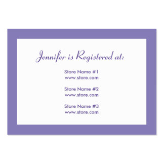 Registry Card - Purple Polka Dots Large Business Cards (Pack Of 100)