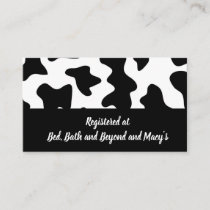 Registry Cards for Wedding Gifts - Cow Print
