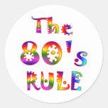 regla 80s pegatina redonda