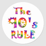 regla 90s pegatinas redondas