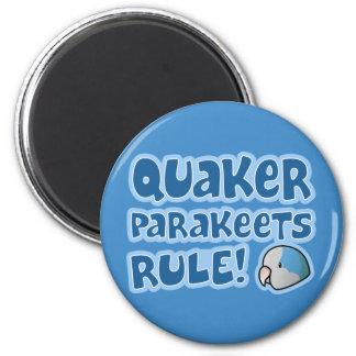 Regla azul de los Parakeets del Quaker Imán Redondo 5 Cm