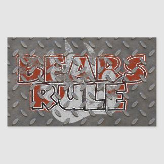 Regla Brown de los osos en la pata de plata en un Pegatina Rectangular