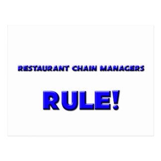 ¡Regla de encargados de la cadena de restaurantes! Postal