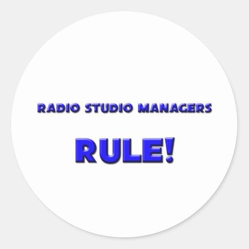 ¡Regla de encargados de radio del estudio! Etiqueta Redonda