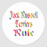 REGLA DE JACK RUSSELLS PEGATINAS REDONDAS