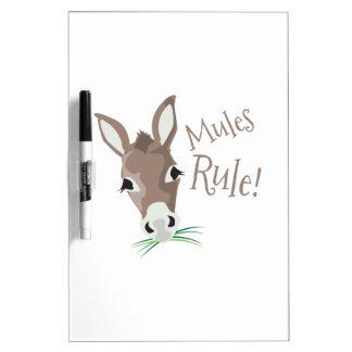 Regla de las mulas pizarra blanca