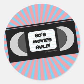Regla de las películas de los años ochenta pegatina redonda