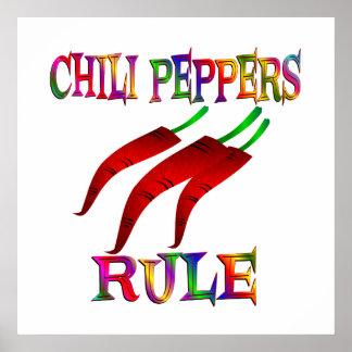 Regla de las pimientas de chile posters