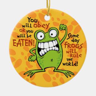 Regla de las ranas adorno navideño redondo de cerámica