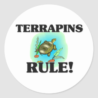 ¡Regla de las TORTUGAS ACUÁTICAS! Pegatina Redonda