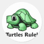 ¡Regla de las tortugas! Etiquetas Redondas