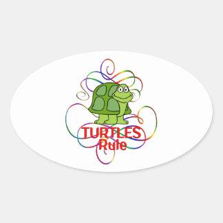 Regla de las tortugas pegatina ovalada