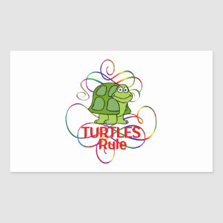 Regla de las tortugas pegatina rectangular
