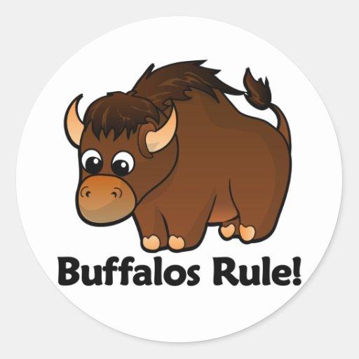 ¡Regla de los búfalos! Pegatina Redonda