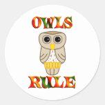 Regla de los búhos etiquetas redondas