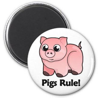 ¡Regla de los cerdos! Imán Redondo 5 Cm