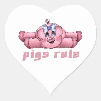 Regla de los cerdos pegatina en forma de corazón