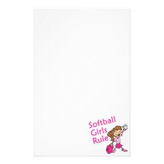Regla de los chicas del softball papeleria de diseño