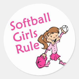 Regla de los chicas del softball pegatina redonda