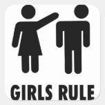 Regla de los chicas calcomania cuadradas personalizada
