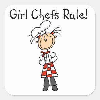 Regla de los cocineros del chica pegatina cuadrada