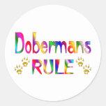 Regla de los Dobermans Pegatinas Redondas