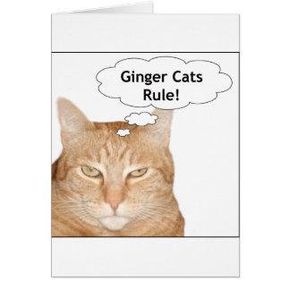 ¡Regla de los gatos del jengibre! Tarjeta De Felicitación