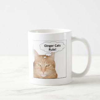 ¡Regla de los gatos del jengibre! Taza Básica Blanca