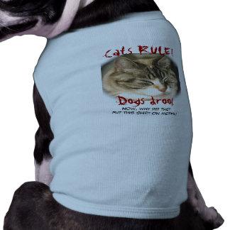 ¡REGLA de los gatos! Drool. de los perros Playera Sin Mangas Para Perro