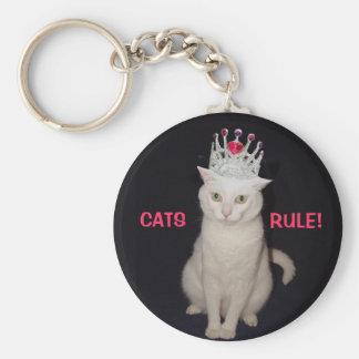 ¡Regla de los gatos! Llavero Redondo Tipo Pin