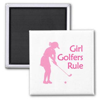 Regla de los golfistas del chica imán cuadrado