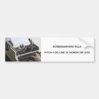 Regla de los guionistas pegatina para auto