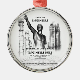 Regla de los ingenieros adorno navideño redondo de metal