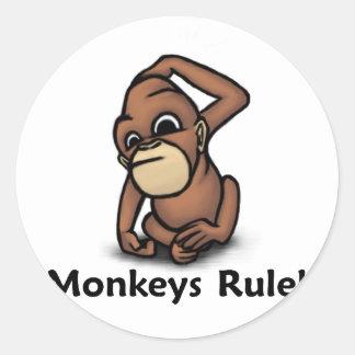 ¡Regla de los monos! Etiqueta Redonda
