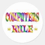 Regla de los ordenadores etiqueta redonda