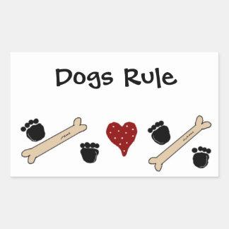 Regla de los perros - impresiones y huesos de la pegatina rectangular