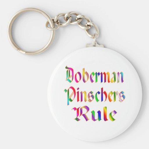 Regla de los Pinschers del Doberman Llavero Redondo Tipo Pin