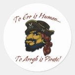 ¡REGLA de los piratas! Etiqueta Redonda