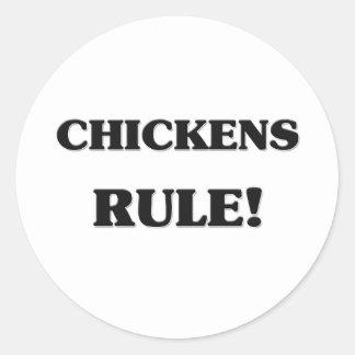Regla de los pollos pegatina redonda