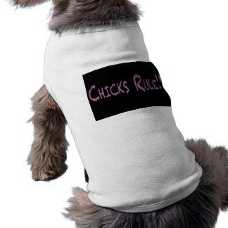 Regla de los polluelos en negro playera sin mangas para perro