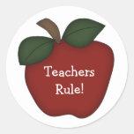 ¡Regla de los profesores! - Apple rojo Etiquetas Redondas