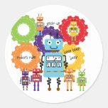 Regla de los robots pegatina redonda
