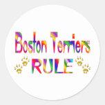 Regla de los terrieres de Boston Etiquetas Redondas